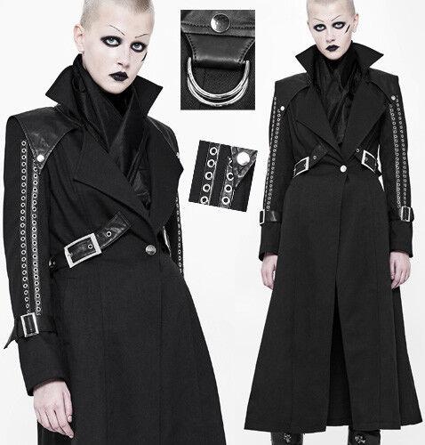 Manteau long cintré gothique punk steampunk oeillets rivets sangles Punkrave