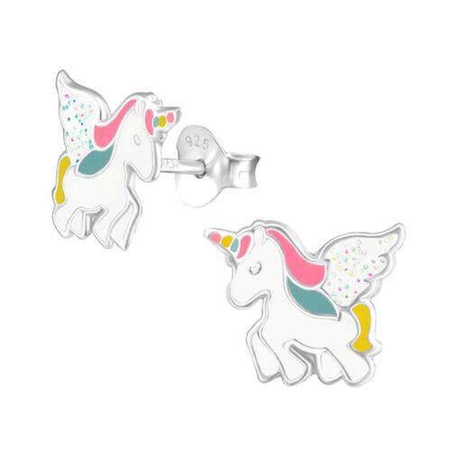 Pegasus Einhorn Ohrstecker 925 Echt Silber Ohrringe Kinder Mädchen Glitzer