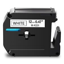 1pk M K231 Black On White Label Tape For Brother P Touch Pt 80 M95 100 110 12