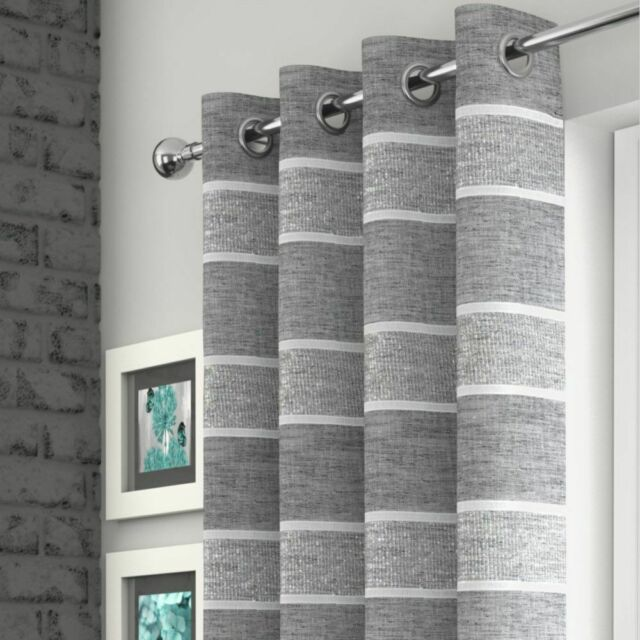 Beige Stripe Linen Style Lurex Voile Net Curtain Eyelet Ring Top Single Panel