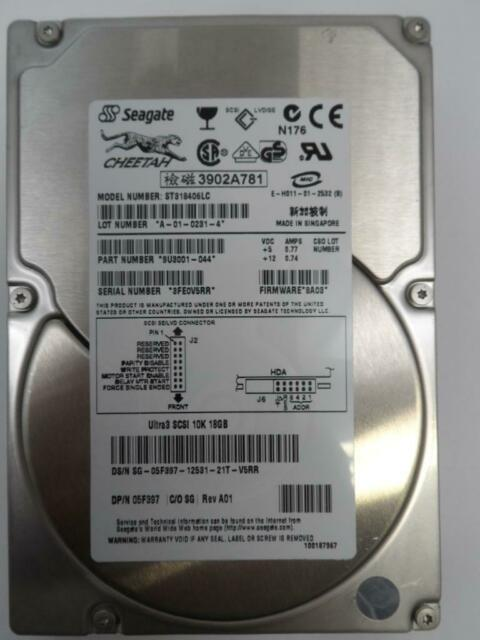 Seagate Dell 18GB SCSI 80 Pin 10Krpm 3.5in HDD 9U3001-044 ST318406LC