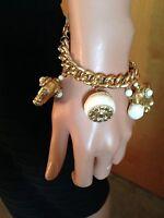 Fashion Bug Cream Gold Chain Pearl Beads Elephant Charm Bracelet Jewelry