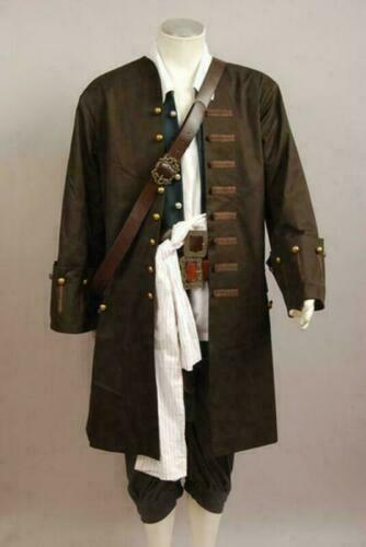 Pirates of the Caribbean Jack Sparrow Halloween Outfit Coats Hot Cosplay Costume
