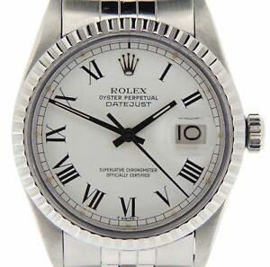 Rolex-Datejust-Stainless-Steel-Watch-White-amp-Black-Roman-Dial-Jubilee-Band-16030