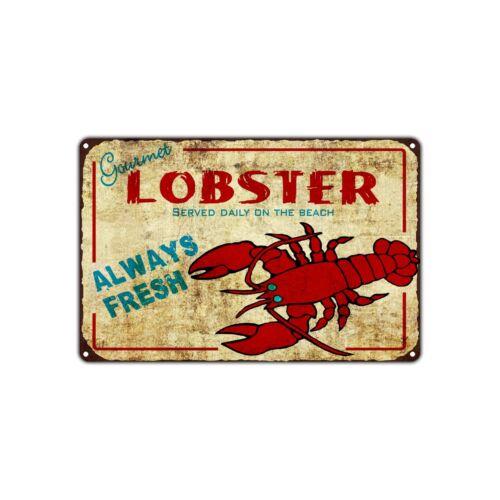 Lobster Served Always Fresh Decor Art Shop Man Cave Bar Vintage Retro Metal Sign