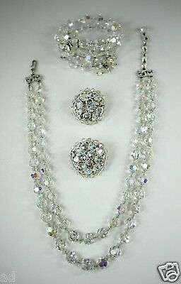Vintage Signed Designer Hobe Parure AB Crystals Necklace Bracelet Earrings Set