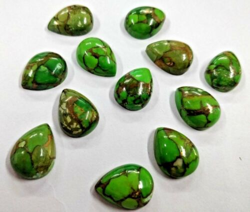 Wholesale Lot 12 Pcs Natural Mohave Green Copper Turquoise Pear Loose Gemstone