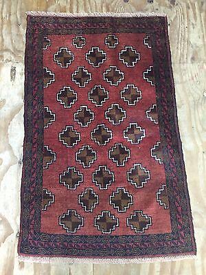 Shabby Chic PERSIAN 140x90 Cm ORIENTAL RUG CARPET Baluch Tribal Handmade