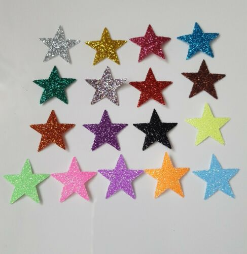 Personalised iron-on transfer glitter name size 10cm+5 stars in 17 colours