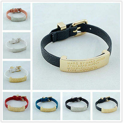 Hot Sale Marc by Marc Jacobs10 colors MJ Iron card  PU Leather Bracelet #B334X