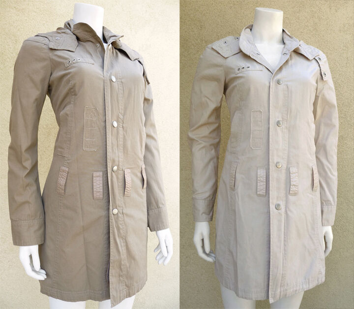MISS ME Women Long Sleeves Snap Buttons Hooded Beige Khaki Classic Trench Coat
