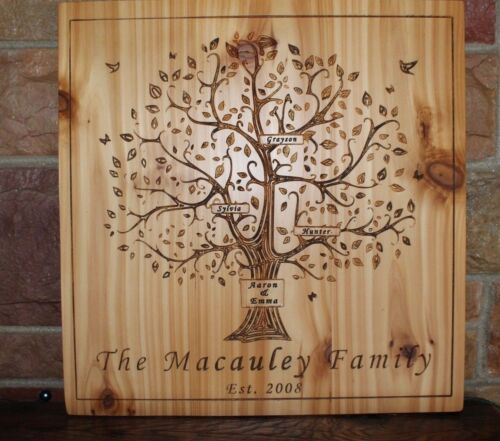 Custom carved family tree personalized wood plaque wedding anniversary signs