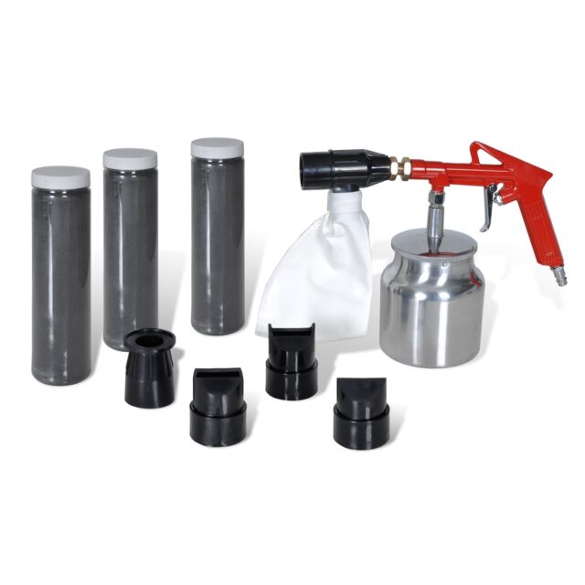 Air Sand Blasting Kit 3 Bottles of Sand&4 pcs Nozzles Rust Remove Cleaning
