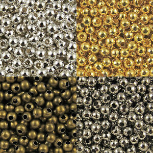 10-500X-Metal-Round-Glossy-Spacer-Beads-Jewelry-Making-2-10mm-Silver-Gold-Bronze