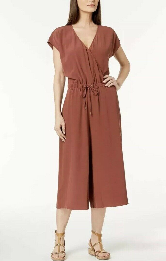 XL EILEEN FISHER RUSSET BROWN TENCEL VISCOSE CREPE CROPPED WIDE LEG JUMPSUITS