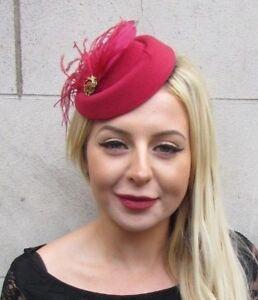 Burgundy Wine Red Gold Feather Pillbox Hat Hair Clip Fascinator ... 6511c35bf52