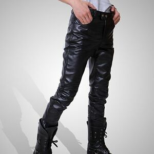 New-Mens-Fashion-Casual-Trousers-Locomotive-Pants-Black-Pu-Leather-Boots-Pants