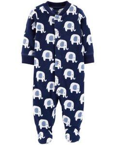 ffce76a1a844 Details about New Carter s Fleece Sleep n Play Boys Elephant Blue NWT Pre  NB 3m 6m 9m Pajamas
