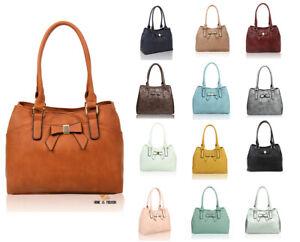 Women-039-s-Fashion-Bow-Detail-Large-Leather-Tote-Hobo-Shopper-Handbag-Shoulder-Bag