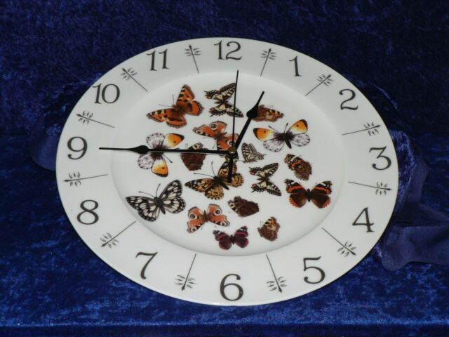 """Butterfly design 11"""" large bone china  wall clock - gift  boxed"""