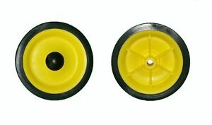 """NEW  -  PAIR OF YELLOW 6"""" TRUCK / TROLLEY / CART WHEEL WITH 1/2"""" BORE"""