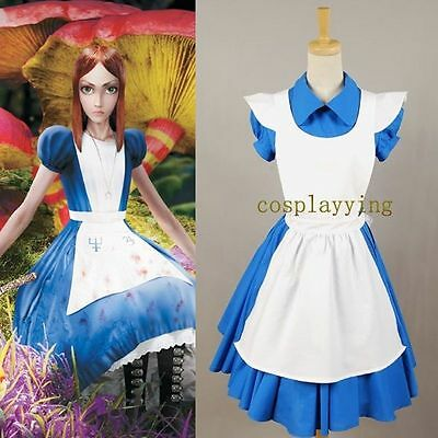 Alice in Wonderland Movie Blue Cosplay Costume Outfit Suit Maid Dress Apron Hot