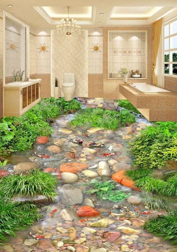 3D Fisch Stein grün Gras 923 Fototapeten Wandbild Fototapete Bild Tapete Familie