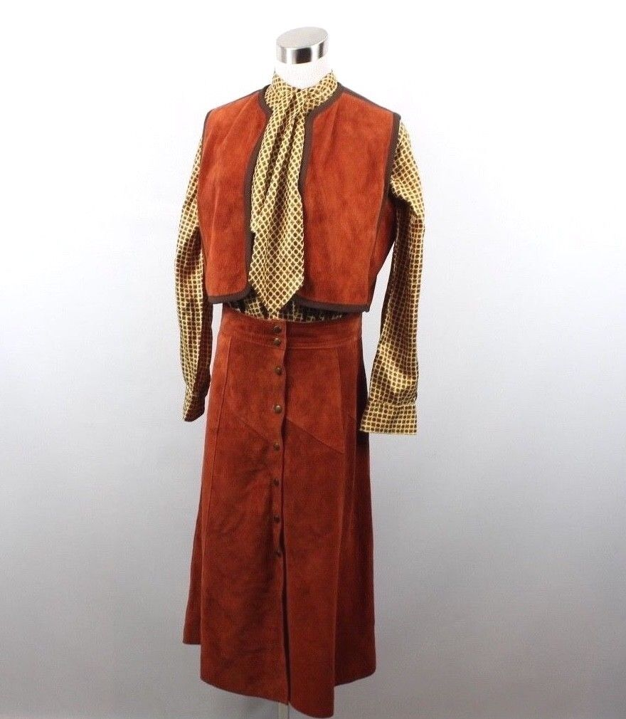 Vtg 70s Bonwit Teller Womens 13 Suede Leather Vest Skirt Silk Blouse 3 Pc Set