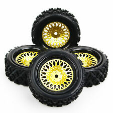 4 Pcs Rubber Tires Wheel Rim Set For 1/10 Rally RC Off Road Car PP0146+PP0487