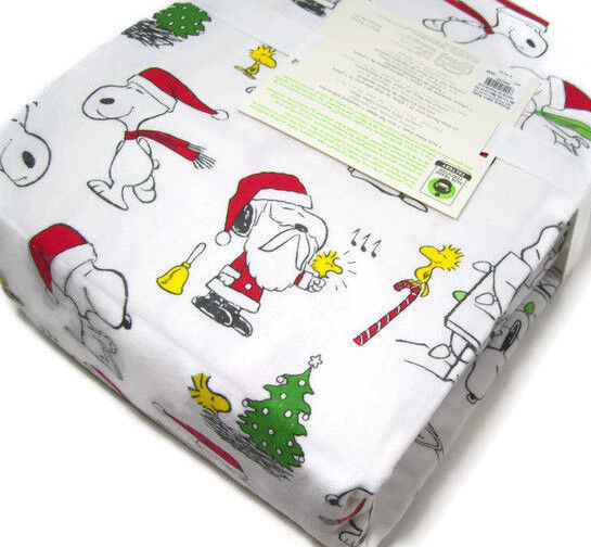 Pottery Barn Kids Peanuts Snoopy Wood Stock Flannel Cotton Full Sheet Set New