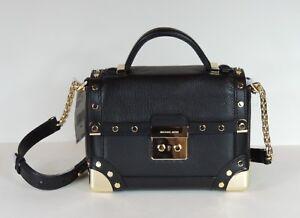 bea13e9a4249f New MICHAEL Kors Cori small Trunk bag leather black gold stud push ...