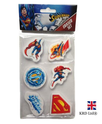 6Pc kids SUPERMAN gommes pack party favors sac remplissage anniversaire stationnaire cadeau
