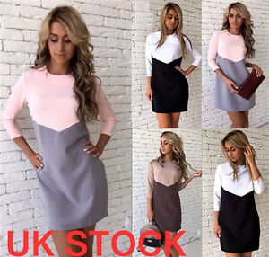 UK-Womens-Ladies-Bodycon-Long-Sleeve-Dresses-Party-Evening-Mini-Patchwork-Dress