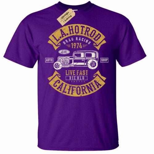 LA Hotrod T-Shirt Mens usa american classic vintage retro car rockabilly hot rod