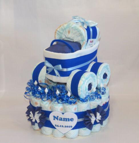 Windeltorte mit Windelkinderwagen XL-Reifen blau Windeltorte Geburt-Taufe