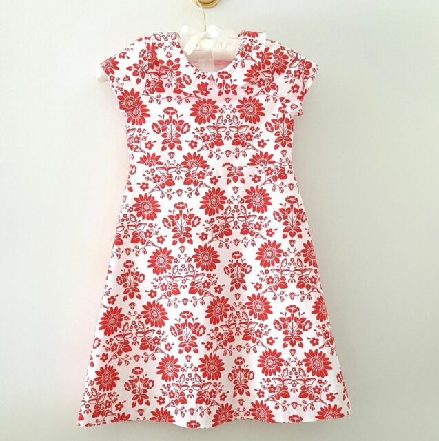 Cocodots Boutique Girls Dress SIZE 6 Red White Lined Cotton