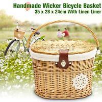 Handcraft Wicker Bike Basket Shopping Picnic Front Carry Box W/ Lid Handle&Line