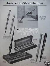 PUBLICITÉ 1927 EVERSHARP LE PORTEPLUME STYLOPHORE WAHL-EVERSHARP ARGENT MASSIF