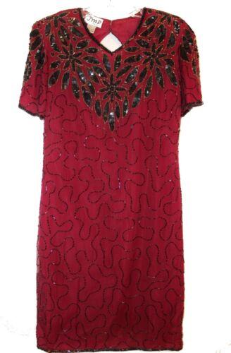 Vintage Red JMD New York Silk Black Beaded Cocktai