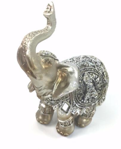 Small Silver Buddha Elephant Ornament Gift Figurine 45621