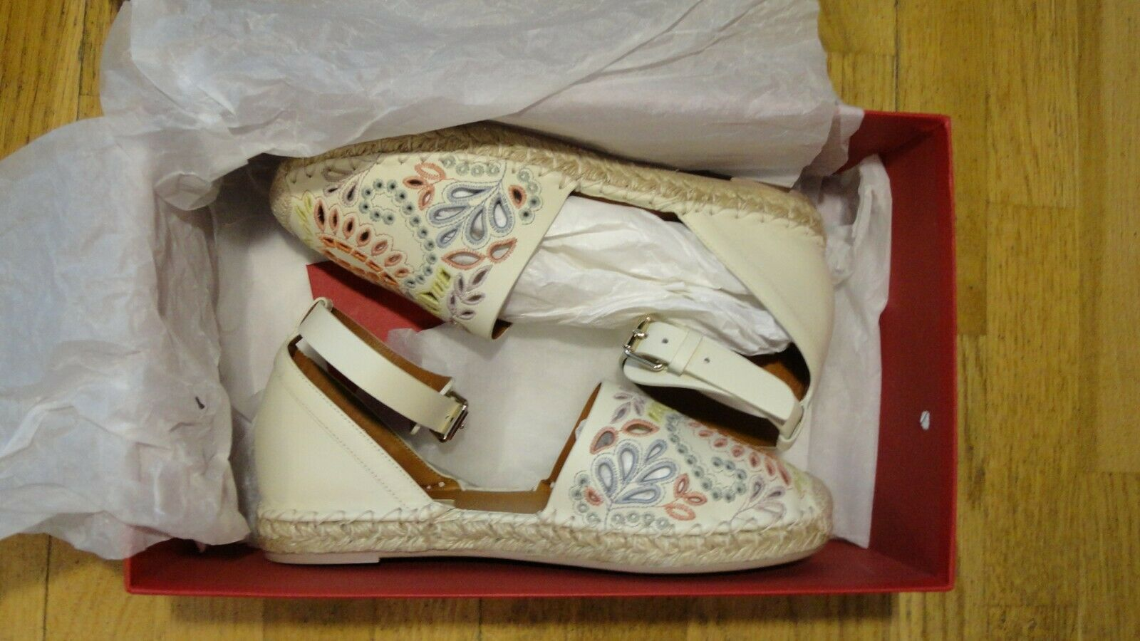 VALENTINO GARAVANI NIB NIB NIB Woman Embroidered Leather Espadrilles Sandals shoes 36 6 080b43