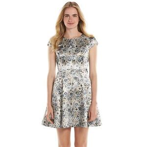 5ac523d03f3 LC LAUREN CONRAD Women s Floral Satin Cut-Out Back Fit   Flare Dress ...