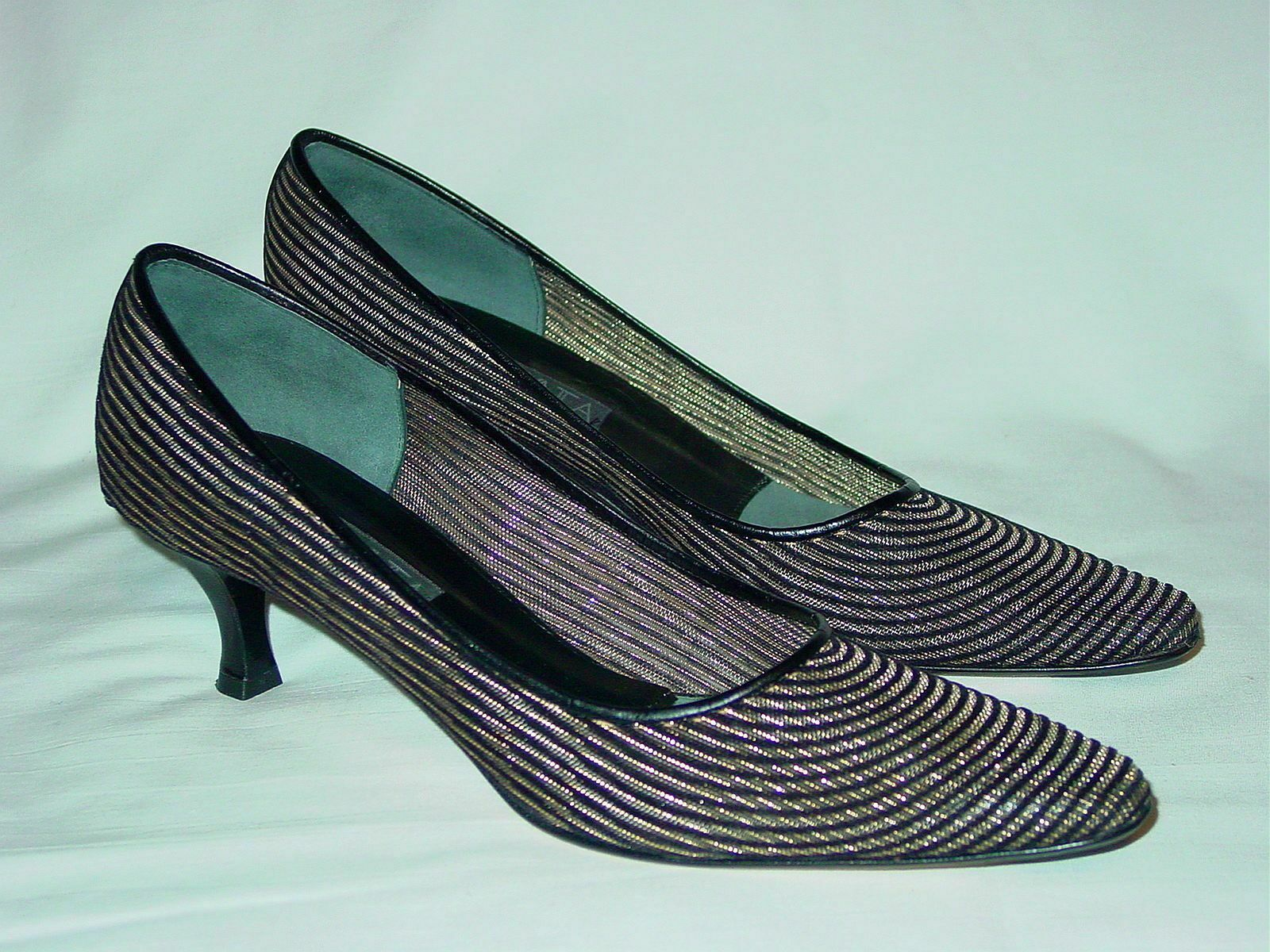 a buon mercato donna Sexy PREVATA    Mesh nero oro Metallic Pumps Heels scarpe 10 AA Nice  vendita economica