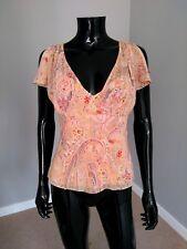 2dab084b7ae398 Elie Tahari designer pink paisley print silk butterfly sleeve top blouse  sz. S