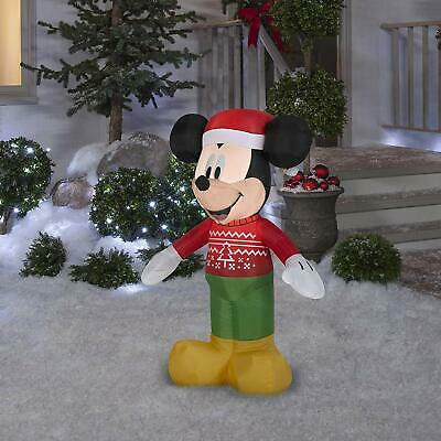 """42/"""" Set MICKEY AND MINNIE MOUSE IN UGLY CHRISTMAS SWEATERS Airblown Inflatable"""