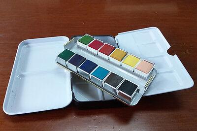 Empty Watercolor Black Metal Case with 12 Half Pans Portable JCT ECO