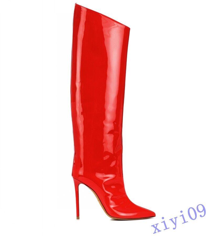 Donna Patent Leather High Knee stivali Pointy Toe Stiletto Side Zipper scarpe 2019