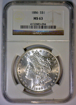 1886 US Morgan Silver Dollar $1 NGC MS63