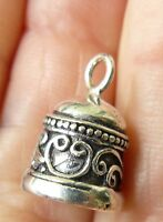 Sterling Silver Bell Bead Charm Earring Finding Bali Made 5/8 Long