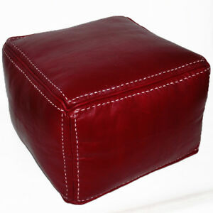 Moroccan-Real-Leather-Seat-Cushion-Stool-Handmade-Carre-Red-with-Stitching